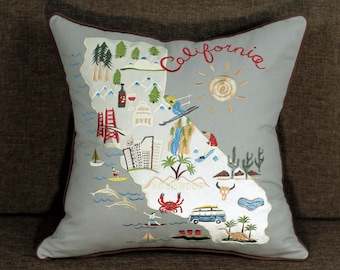 California Embroidered Pillow Cover