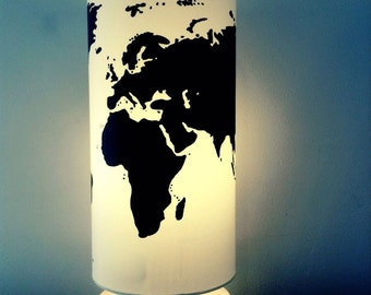World Map Silhouette on Wooden Base Lamp