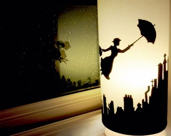 Mary Poppins Inspired Silhouette on Cream, Large Cylinder, Wooden Base Lamp