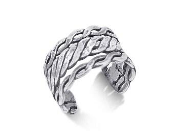 Triple braid design authentic .925 sterling silver ear cuff