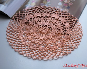 Peach doily, Crochet doily, Round crochet doily, Handmade doily, Crochet doily, crochet lace doily, Crochet table decoration, Crochet item