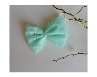 Mint/aqua lace bow headband