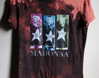 Women's Bleached and Shredded Madonna T Shirt