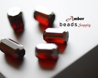 Black Cherry amber color Beads. Amber Beads for Jewelry Making. 5 Pieces. Polished, natural amber. Drilled Beads. Beads supply. #2454