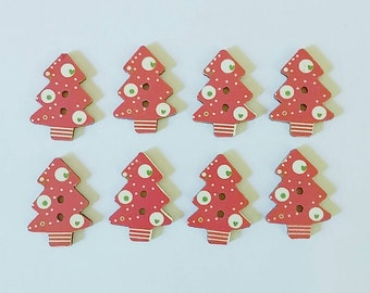 Red Christmas Tree Buttons x 8