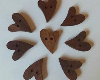 Dark Wooden Heart Buttons x 8