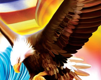 Patriotic Eagle Beach Towel 30x60