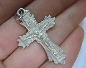 SOLID 925 Sterling Silver Cross Pendant Crucifix Russian Cyrillic Inscription God, bless me Спаси и сохрани Church Jewelry Amulet Protect