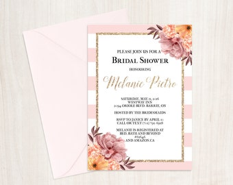 Pink Striped Bridal Shower Invitation, Pink and White Bridal Shower, Bridal Shower Invitation Download, Chic Bridal Shower, Invitation