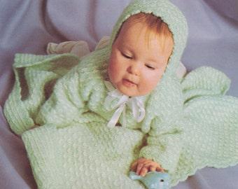 541 PDF Baby Set Knitting Pattern, Baby Blanket Afghan, Bonnet, Sweater Patterns, Baby's Breath Design, Vintage 1950's, PDF Download, Free