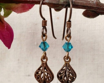 Dainty Brass Filigree Earrings in Blue
