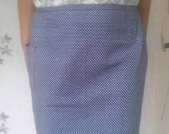 Vintage half apron with pocket, Retro kitchen apron, Blue apron with white dots, Cotton apron