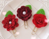 Planner Clip Set: RED Shades Felt Flowers Gold PaperClip   Page Clip   Bookmark   Page Marker . Planner accessories supply.