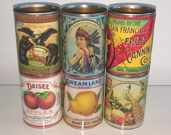Vintage food tin cans label storage for home, cutlery holder, cafes, shop & restaurant display. Props with or without reusable lids replica