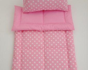 Pink Doll Bedding Set, White Polka Dots, Doll Bedding Set, Doll Blanket & Pillow Set, Doll Crib Set, Doll Comforter Set, Doll Blanket Set