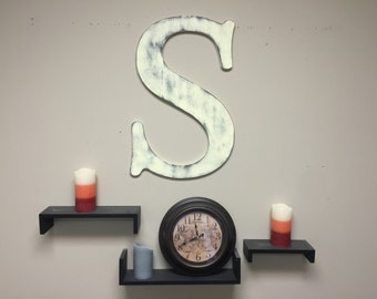 Monogram Rustic Wood Letter, Large Letter S,  Wedding Decor, Wedding Guestbook Nursery Decor, Wall Hanging, painted, Home Wall Decor