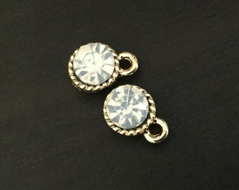 White Rhinestone Charm | Gold Plated Brass Charms | Handmade Jewelry Making | Pendant Bracelet | Earrings Keychain (8*12mm) 2pcs CHB36