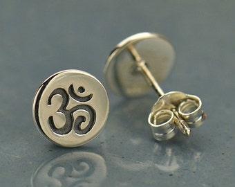 Om Earrings Yoga Jewelry Post Earrings Ohm Aum Disk Stud Namaste 925 Sterling Silver Butterfly Back 1552