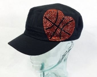 Rhinestone basketball heart cadet hat