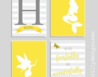 Set of 4 Personalised Nursery Art Prints - Yellow/Grey - Mermaid - Fairy - Butterfly