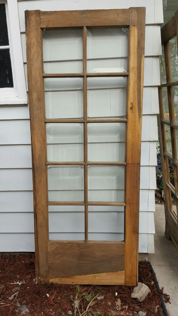 Vintage wood door 10 pane beveled glass room divider for 10 pane glass door
