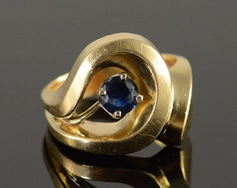 14K 0.50 CT Sapphire Geometric Free Form Maico Ring Size 7.25 Yellow Gold