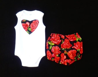 """Red outfit for girls, Clothing for baby girls, 2 piece outfit, size 3-6 months,  """"READY TO SHIP"""""""