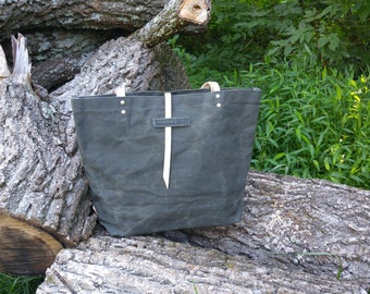 Olive Waxed Canvas Tote