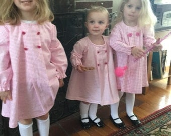 School Dress Pink Gingham Flannel Sister Dresses