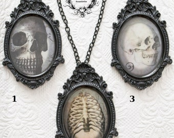 Gothic cameo necklaces-brooches with skull and bones prints-CHOOSE PATTERN-gothic jewelry-halloween