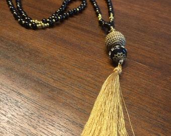 Necklace, necklace, long, stones, gemstones, Pompom, zen, Bohemia