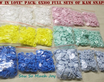 "Genuine KAM Snap ""Sew In Love"" Pack. 6x 100 full sets of size 20 plastic resin snaps poppers buttons. Australian Seller. Fast shipping."