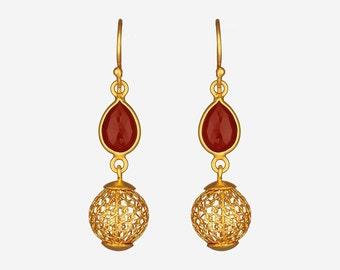 Filigree Ball Drop Earrings, Gold Plated Filigree Drop Earrings, Filigree Ball Dangle Earrings, Sterling Silver Filigree Drop Earrings