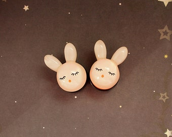 "White bunny plugs for gauged ears 20mm 13/16""  sweet lolita kawaii"