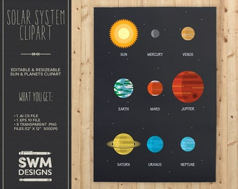 Solar System Clipart - Instant Download