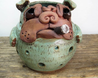 Bulldog Candle Holder, English Bulldog Candle Burner, Funny Bulldog With Cigar Votive Holder, Handmade Dog Pottery, Bulldog Pottery Art