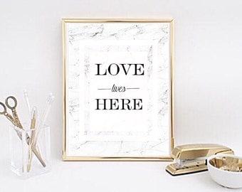 Love lives here Marble Minimalist Home Print