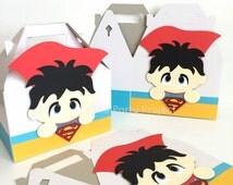 Free Shipping - 12 Superman favor boxes   DC Comics Superhero box   Clark Kent theme birthday party or baby shower   Man of steel goody box!