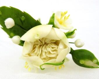 Bridal hair flower - ivory Austin rose, bridal flowers hair, wedding hair flowers, bridal hair pin, hair clay flower, bridal hair accessory