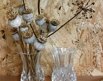 pair of vintage 24% lead crystal French violet vases