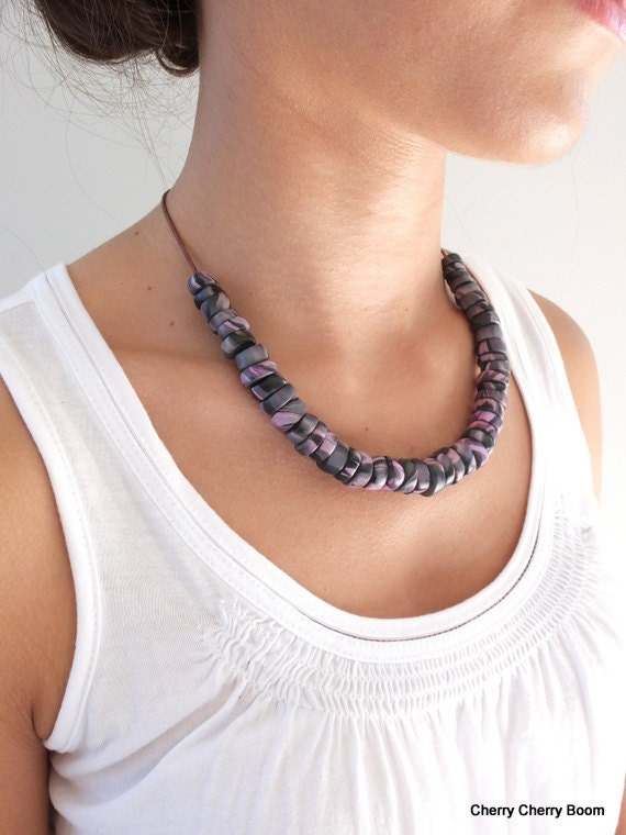 Bib necklace, tribal, necklace, jewelry, handmade, ethnic, pink, ooak necklace, gift for her, trade beads, fimo, polymer clay, african, boho