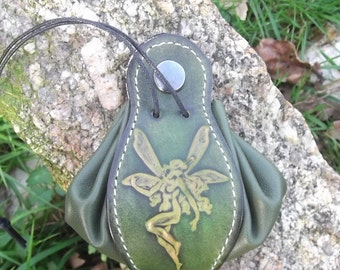 "Leather pouch , fairy design,colour ""vert anis/green""(16 colour to choose) , 2 sizes available"