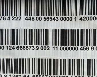 Barcode fabric.  Large UPC lines, numbers, black and white, 100% cotton, Timeless Treasures