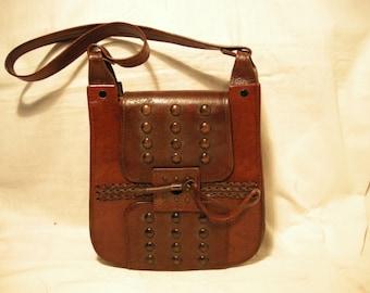 Vintage 1970's Handmade Dark Brown Leather Handbag