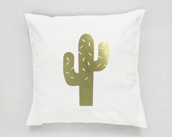 Gold Cactus Pillow, Cactus Pillow, Home Decor, Cushion Cover, Throw Pillow, Bedroom Decor, Modern Pillow, Bed Pillow, Gold Pillow, Botanical