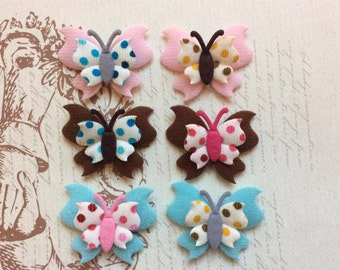 SET of 6 Unique Polka Dotted Butterfly Padded Appliques