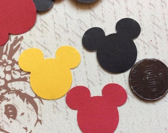 SET of 100 Black/Red/Yellow Mickey Mouse Confetti, Mickey Mouse Birthday, Mickey Mouse Baby Shower, Mickey Party, Disney die cuts