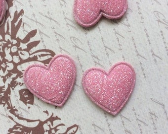LAST SET of 20 Mini Glitter Pink Heart Padded Appliques/hair /bow/hair bow centers/trim/diy/embellishments/hair clip/wedding