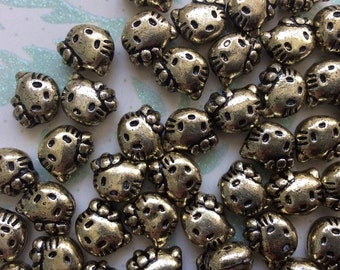 SET of 50 Gold Kitty Cat Head Beads/DIY/silver beads/findings/lot of beads