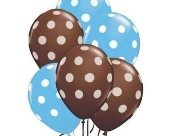 "24 Quantity Blue, Brown & White Polka Dot Latex 11"" Balloon Party Decorating"